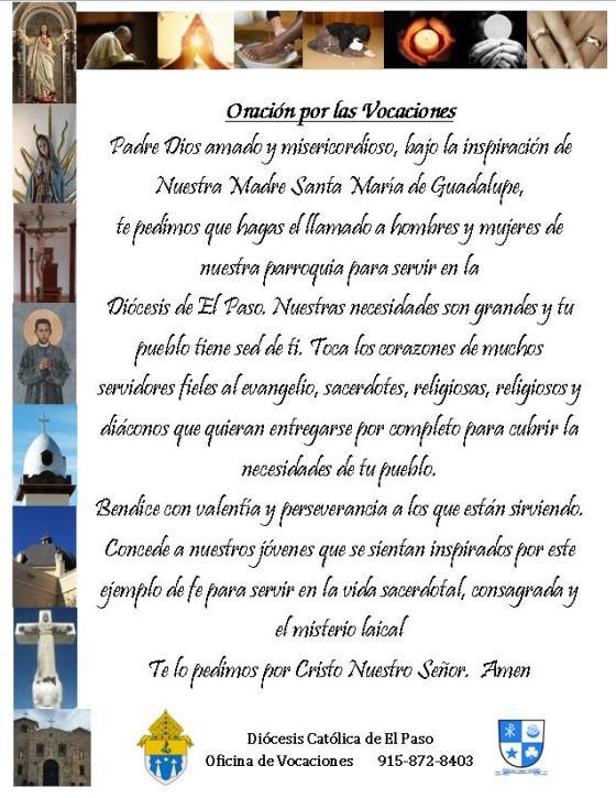 vocational prayer Spanish 2016